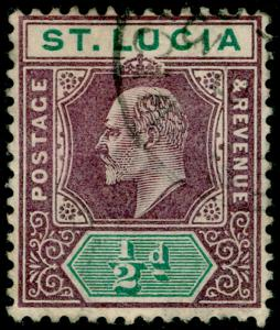 ST. LUCIA SG58, ½d dull purple & green, FINE USED.
