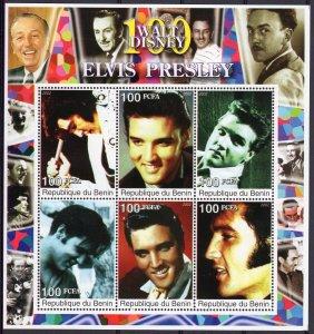 Benin 2002 Elvis Presley/Walt Disney 100 Years Sheetlet (6) Perforated MNH