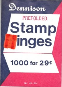 Dennison Prefolded Hinges, Unopened package of 1,000, FREE SHIPPING