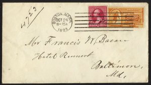 E36 U.S. Scott #E3 orange Special Delivery cover Oct. 24, 1893. SCV = $200