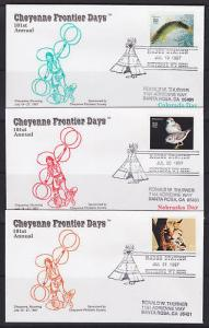 1997 101st Annual Cheyenne Frontier Days covers, complete set of 9, VF
