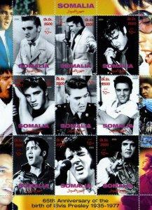 Somalia 2000 Elvis Presley 65th.Anniversary Birth Sheetlet (9) Perforated MNH
