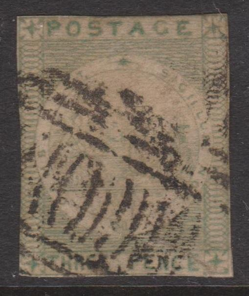 New South Wales 1851-51 3d Green View Sc#9a or 9b Used 3 1/2 Close Margins