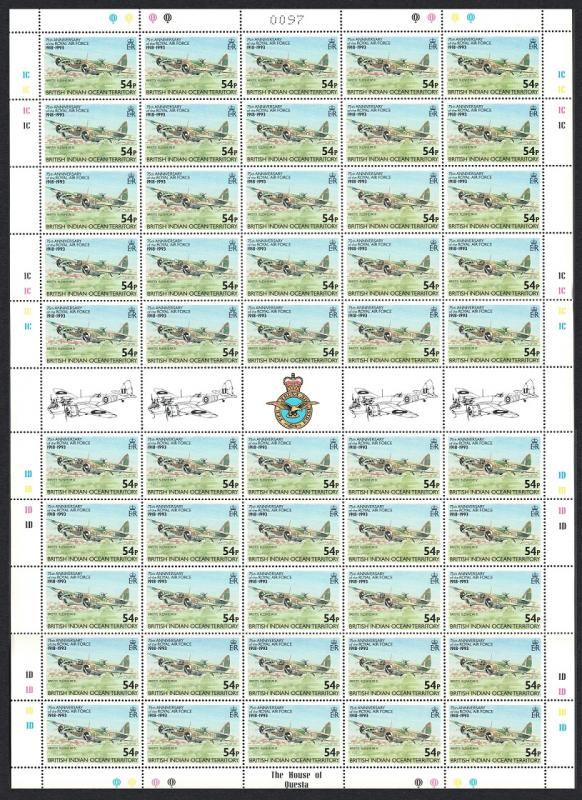 BIOT Royal Air Force 'Bristol Blenheim IM IV' 1v 54p Full Sheet of 50 SG#139