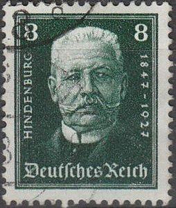 Stamp Germany Reich Mi 403 Sc B19 1927 President Hindenburg 80th Birthday Used