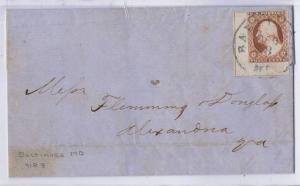SCOTT #11 USED 3c BTM LEFT CORNER COPY GUIDELINE ON LTR, BALTIMORE MD PMK, 1855