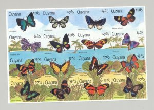 Guyana #2340 Butterflies 1v M/S of 16 Imperf Proof, Unissued Denomination