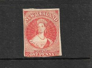 NEW ZEALAND 1864 1d CARMINE VERMILLION  FFQ  MNG  NZ WMK  CP A1J  SG 97 CHALON