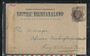 BECHUANALAND  (PP0310B) QV 1895  1D PSC BANK CARD MAFEKING TO KING WILLIAMSTOWN