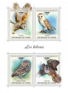 GUINEA - 2018 - Owls - Perf 4v Sheet - MNH