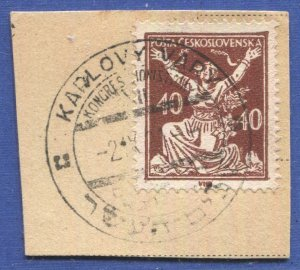 CZECHOSLOVAKIA 1920 Sc 71 Used 40h on piece, KARLOVY VARY Zionist Congress pmk