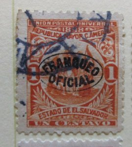 A6P38F211 Salvador Official Stamp 1898 Wmk Liberty Cup optd 1c used