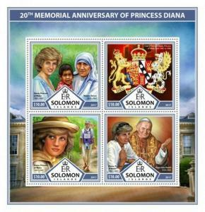 Solomon Islands - 2017 Princess Diana - 4 Stamp Sheet - SLM17309a