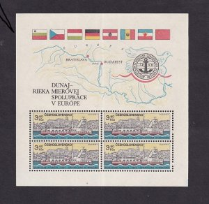 Czechoslovakia  #2424a-2425a   MNH  1982 Sheets Danube commission 2 scans