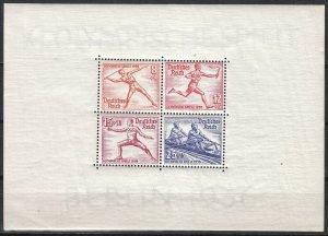 Stamp Germany Mi 628-31 Sc MS613b 1936 Summer Olympic Munich Sheet MNG