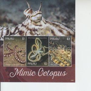 2019 Palau Mimic Octopus II MS3 (Scott NA) MNH