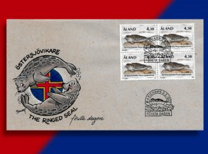 Faroes 239, 240 - Flag-Waving Pinniped on Handcolored FDC!