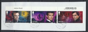 GB   James Bond strip of 3 1st Class Used / Very Fine on piece 2020 issue see...