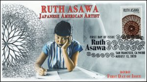 20-183, 2020, Ruth Asawa, First Day Cover, Pictorial Postmark, Japanese American