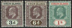 BRITISH VIRGIN ISLANDS 1904 KEVII 3D 6D AND 1/-