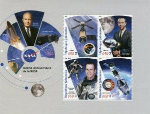 Gabon Stamps 2019 MNH NASA 60th Anniv Space Skylab Apollo 14 Gemini 4v M/S