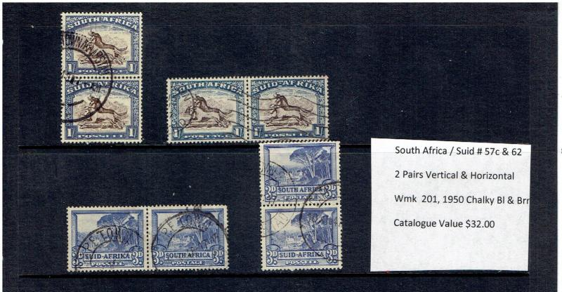 SOUTH AFRICA, SUID, RARE, # 57C & 62, VERTICAL & HORIZONTAL PAIRS