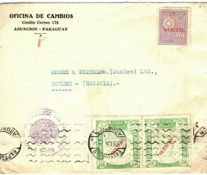 PARAGUAY Official Cover Asuncion Banking GB Scotland Dundee 1936{samwells}SV25
