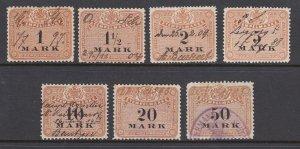 Germany, Saxony, 1875-1895 Stempelmarke Revenues, 7 different, sound, F-VF.