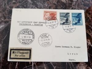 1931 Vienna Austria Graf Zeppelin postcard cover Sieger to Lorch Germany w/cert