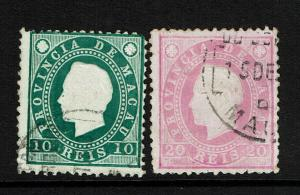 Macao SC# 36 and 37, Used, Hinge Remnant, very minor embossing tears - S8304