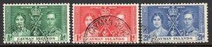 Cayman Islands 1937 Coronation set used