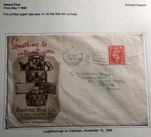 1949 Loughborough England Advertising Empire Bag CO Cover To Chesham