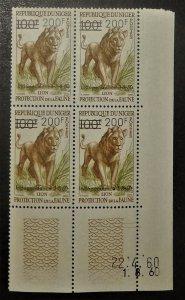 Niger 103. 1960 200Fr on 100Fr Lion, dated corner block of four, NH
