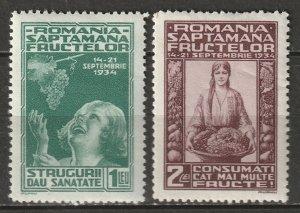 Romania 1934 Sc 440-1 set MH*