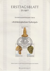 1977 Germany - FD Card (ETB) Sc 1258-60 - Archaeological heritage