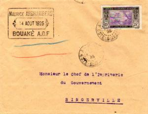 Ivory Coast 25c River Scene 1925 Abidjan, Cote - D'Ivoire to Bingerville.  EU...