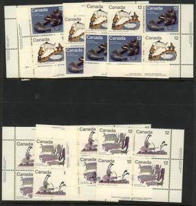 Canada USC #749a, 749ii & 751a Mint 1977 Inuit Hunting First Set Extra LR Var BK