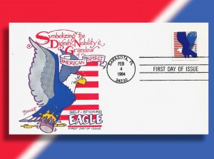 The Noble American Eagle Stuck in a Bucket of Glue!! 1994 Self Adhesive FDC! FDC