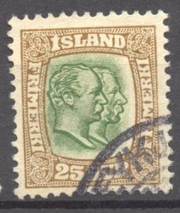 Iceland 1907 Two Kings Scott # 8, the 25 A., VF ++ used, no faults