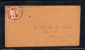 #10 1851 3c Wast'n (plated 68L2e) on Cover - Great usage and nice recut LL