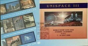 United Nations Unispace III World Stamp Expo 2000 Anaheim, CA $2.00 Sheet