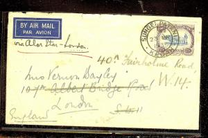 MALAYA KEDAH (P1012B) 1935 25C COW A/M COVER TO LONDON MISS BACKFLAP COPY 1