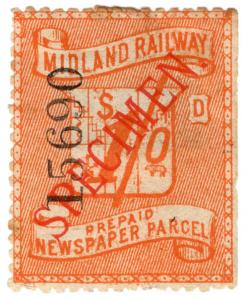 (I.B) Midland Railway : Newspaper Parcel 1/- (specimen)