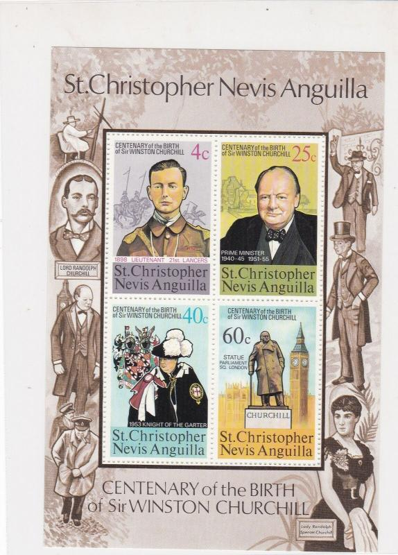 St.Christopher Nevis Anguilla Sir Winston Churchill MNH Mini Stamps Sheet  27096