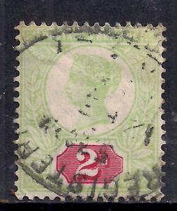 GB 1887 - 92 QV 2d Used Green/Red Jubilee SG 200 ( K742 )
