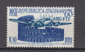 J27602 1952 italy-trieste set of 1 mh #155 airplane ovpt