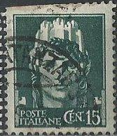 Italy 216 (used, clipped at upper left) 15c Italia, slate grn (1929)