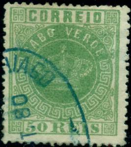 CAPE VERDE #6 50r Crown of Portugal, used, VF, Scott $72.50