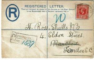 Sierra Leone 1913 GPO cancel on registry envelope to England