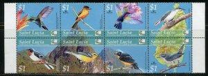 ST. LUCIA BIRDS STRIP OF EIGHT  MINT NH